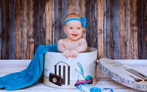 Картинка улыбка, фон, коробка, девочка, малышка, младенец, модница