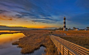 Картинка облака, маяк, остров, зарево, США, Северная Каролина, Внешние отмели