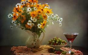 Картинка вино, бокал, ромашки, букет, смородина, крыжовник, гелениум