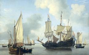 Обои парус, Корабли на Якоре у Побережья, морской пейзаж, Виллем ван де Велде Младший, масло, картина, ...
