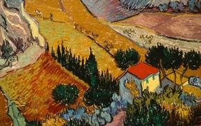 Картинка пейзаж, картина, Винсент ван Гог, Пейзаж с Домом и Пахарь