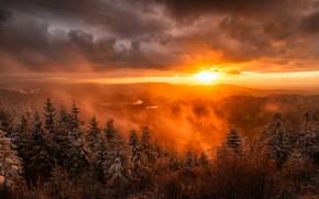 Картинка зима, закат, горы