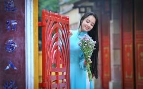 Картинка лицо, улыбка, стиль, волосы, букет, азиатка, красотка