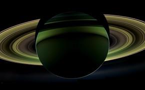 Обои Сатурн, вид, с темной стороны
