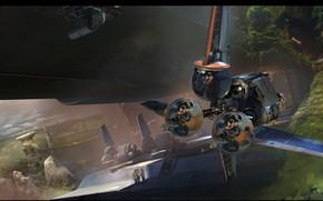Картинка люди, летательный аппарат, The Moment Rebel Base Fighters
