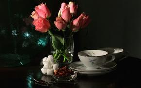 Картинка розы, букет, чашка, натюрморт
