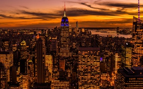 Картинка ночь, огни, дома, Нью-Йорк, панорама, США
