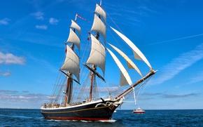 Обои парусник, Северное море, бриг, катер, Бриг Morgenster, море