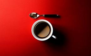 Обои красный фон, чашка, ложка, кофе