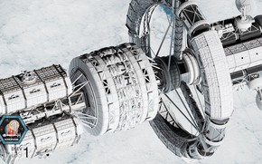 Картинка космос, облака, станция, аппарат, Kronos 1 - WIP 2