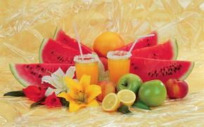 Картинка цветы, яблоки, лилии, апельсин, арбуз, сок, коктейль, стаканы, фрукты, лимоны, трубочки