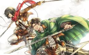 Картинка аниме, арт, Микаса, Shingeki no Kyojin, Эрен, Атака титанов