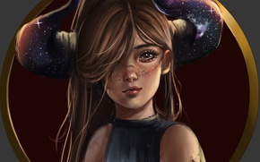 Картинка девушка, рога, by Whails