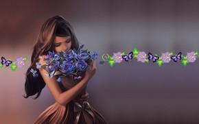Обои бабочки, настроение, букет, арт, девочка, Cyril Rolando, Ephemeral Beauty