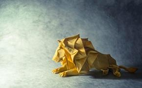 Картинка бумага, лев, оригами
