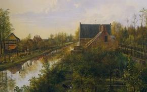 Обои пейзаж, Питер Герардус ван Ос, масло, Канал у Деревни, холст, картина