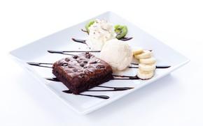 Обои бананы, шоколадное, пирожное, сироп, десерт, киви, взбитые сливки, мороженое