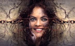 Картинка лицо, улыбка, фантазия, женщина, красота, сказка, цепь, сюрреалистический, дружественные