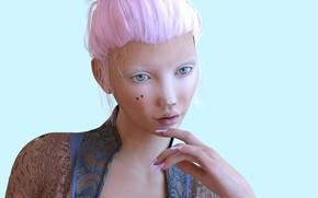 Картинка девушка, портрет, голубой фон