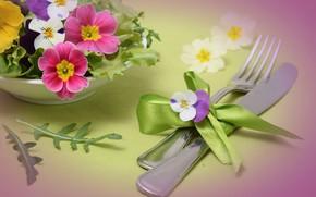 Картинка Цветы, лента, бантик, столовые приборы