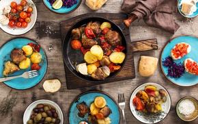 Картинка хлеб, мясо, барбекю, овощи, помидоры, оливки, wood, картошка, meat, гриль