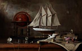 Картинка перо, часы, парусник, трубка, натюрморт, глобус