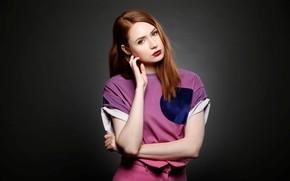 Обои взгляд, девушка, милая, актриса, рыжая, красивая, рыжеволосая, красные губы, Карен Гиллан, Karen Gillan