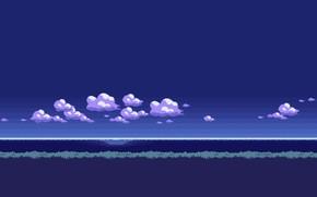 Картинка Облака, Ретро, Фон, Арт, Графика, Пиксели, PXL