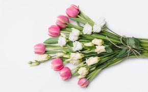 Картинка цветы, розы, букет, тюльпаны, розовые, white, белые, бутоны, fresh, wood, pink, flowers, romantic, tulips, roses, …