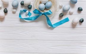 Картинка яйца, голубые, Пасха, лента, white, белые, wood, blue, spring, Easter, eggs, decoration, Happy, tender