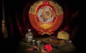 Картинка цветок, планшет, пилотка, гвоздика, знамя, День Победы, фляга, 9 Мая, Георгиевская лента, Герб СССР