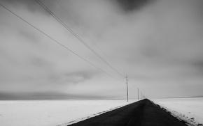 Картинка зима, дорога, поле, снег, природа, перспектива, лэп
