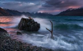 Картинка горы, озеро, рассвет, камень, Новая Зеландия, New Zealand, Южные Альпы, Southern Alps, Lake Ohau, Озеро …