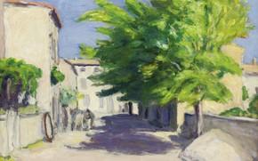 Картинка пейзаж, дом, картина, Элберт Андре, Albert Andre, Деревенская Улица в Провансе