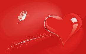 Картинка бабочка, сердце, вектор, открытка, День Святого Валентина