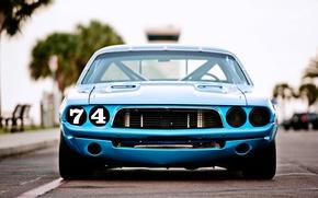 Картинка Dodge Challenger, race, 1973, blue car