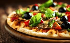 Обои пицца, еда, грибы, маслины, брокколи