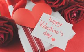 Картинка красные розы, love, roses, valentine's day, romantic, gift, hearts, red