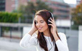 Картинка music, female, headphones