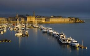 Картинка море, Англия, дома, лодки, гавань, Кремилл