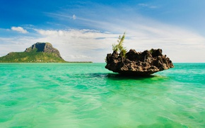 Картинка Маврикий, природа, остров, Ле-Морн-Брабан, скала, море