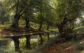 Картинка деревья, пейзаж, природа, картина, Петер Мёрк Мёнстед, Peder Mørk Mønsted, Ручей в Долине. Олени на …