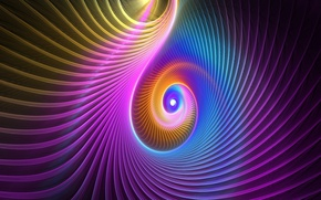 Обои спираль, фрактал, объем, краски