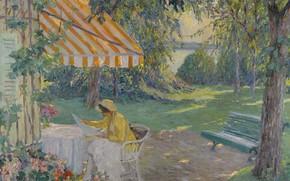 Обои картина, Эдуард Какуел, Лето на Озере Штарнберг, Edward Cucuel, девушка, скамья