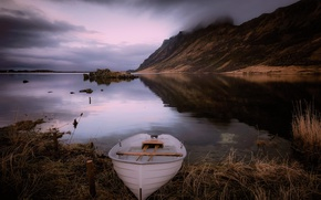 Картинка туман, озеро, лодка