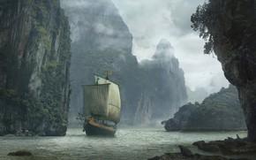 Обои скалы, Landscape with ship, корабль, вода