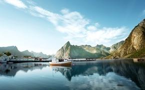 Картинка горы, скалы, дома, бухта, лодки, Норвегия, катер, причалы, Лофотенские острова, Lofoten