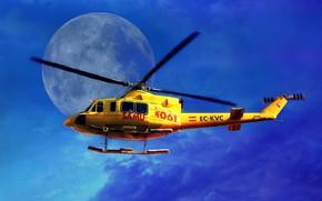 Обои небо, вертолет, Луна, лопасти