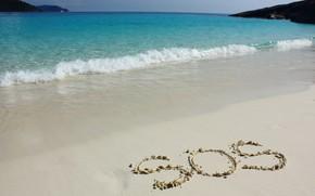 Обои песок, море, волны, пляж, лето, summer, beach, sea, blue, sand, wave, sos
