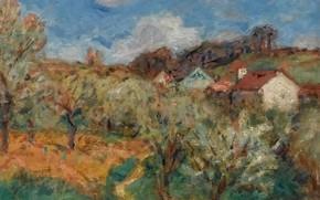Картинка деревья, пейзаж, дом, картина, Landscape of the Midi, Georges d`Espagnat